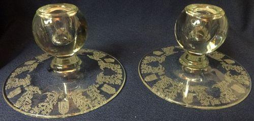 "Gazebo Crystal Candlestick Pair Flat 3.5"" #1503 Paden City Glass"