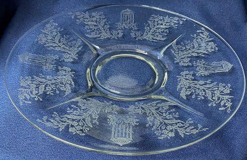 "Gazebo Crystal Plate 10.75"" #211 Paden City Glass Company"