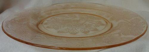 "Dogwood Pink Dinner Plate 9.25"" Mac Beth Evans Glass Company"