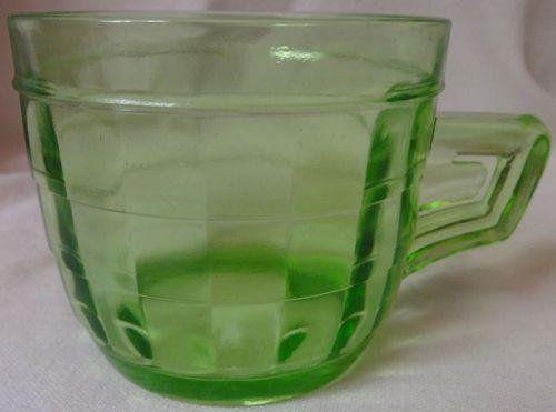 "Block Optic Green Mug 2.75"" Hocking Glass Company"