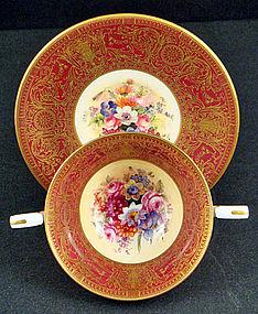 Vintage Royal Worcester Bouillon Cups & Saucers
