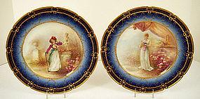 Fabulous Antique Pr of Haviland Limoges Portrait Plates