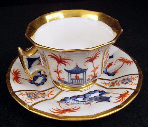 Antique Paris Porcelain Chinoiserie Tea Cup & Saucer