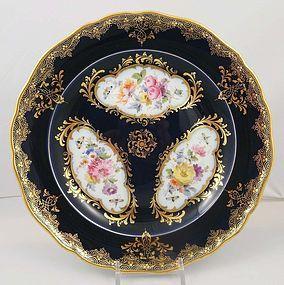 Gorgeous Antique Meissen Cobalt & Floral Plate