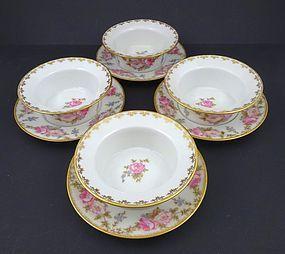 Vintage GDA Limoges Ramekins & Under Plates with Roses
