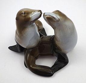 Vintage Pair of Rosenthal Porcelain Kissing Sea Lions