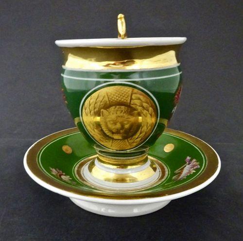 Antique Paris Porcelain Neo-Classical Cup & Saucer