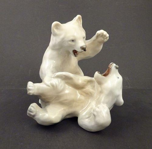 Vintage Royal Copenhagen Porcelain Polar Bear Cubs