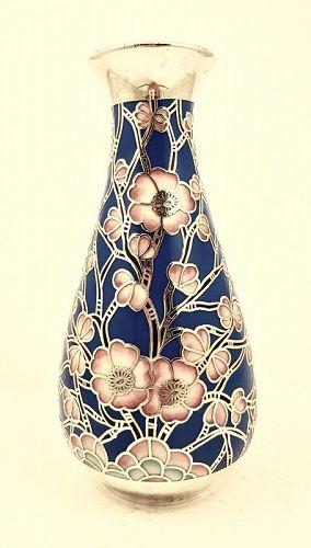 Friedrich Spar Deco Silver Overlay Vase Asian Influence