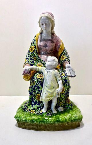 Large Minghetti Faience Madonna & Child Figurine