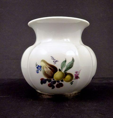 Vintage Meissen Fruit Painted Vase with Sterling Trim