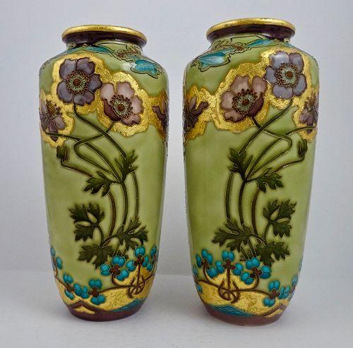 Pair of Antique Art Nouveau Paul Milet Sevres Vases