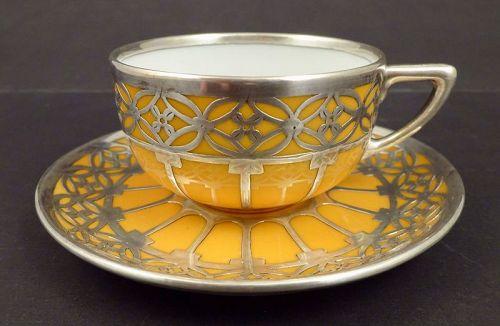 Art Deco Rosenthal Silver Overlay Mocha Cup & Saucer