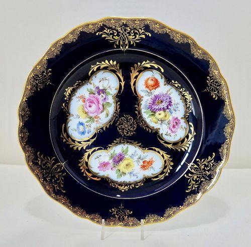 Antique Meissen Cabinet Plate, Cobalt Blue & Floral