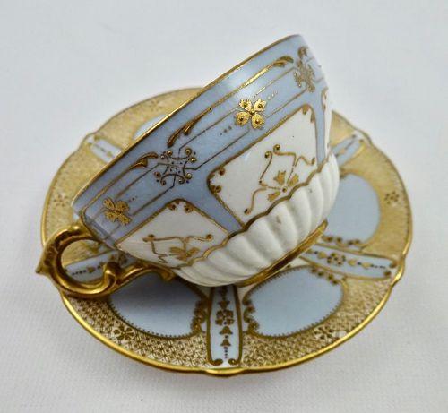 Antique Royal Doulton Demitasse Cup & Saucer Blue & Gold