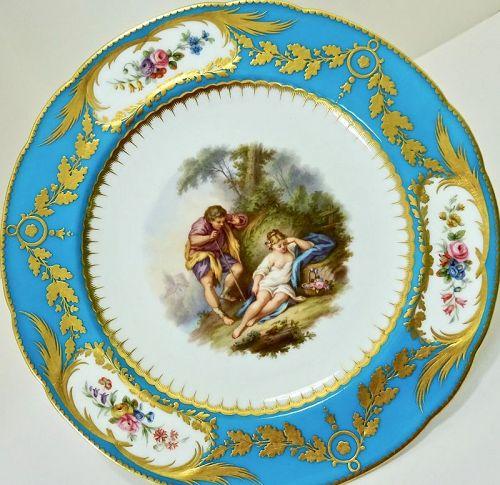 Antique Minton Cabinet Plate, After Boucher