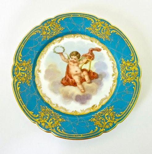 Antique Paris Cabinet Plate, Cherub