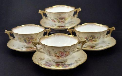 4 Antique Doulton Burslem Soup Cups & Saucers