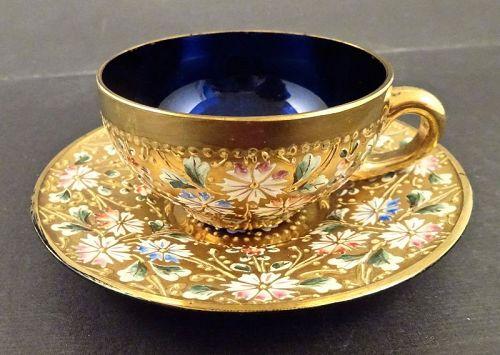 Antique Moser Enameled Glass Demitasse Cup & Saucer