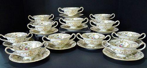 12 Antique Cauldon Soup Cups & Saucers, Hand