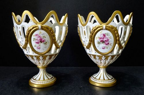Pair Worcester Vases for Tiffany