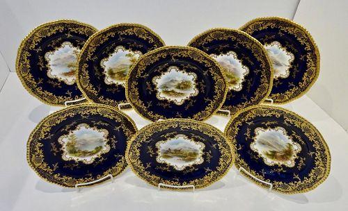 8 Coalport Cabinet Plates, Scenic, Artist Signed