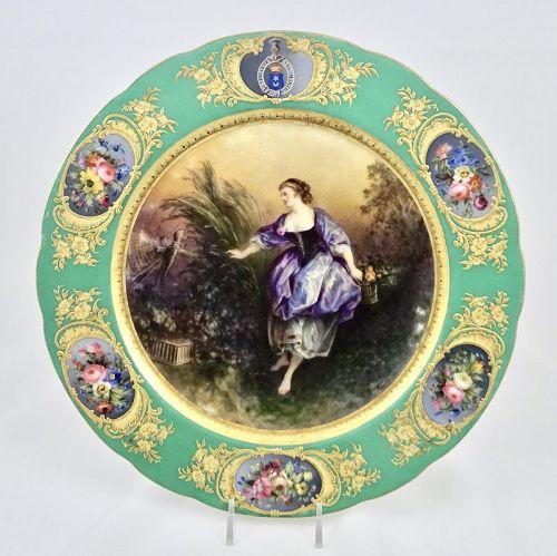 Boyer Paris Porcelain Cabinet Plate, Armorial