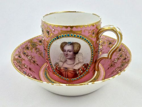 Sevres Portrait Cup & Saucer, Jeweled
