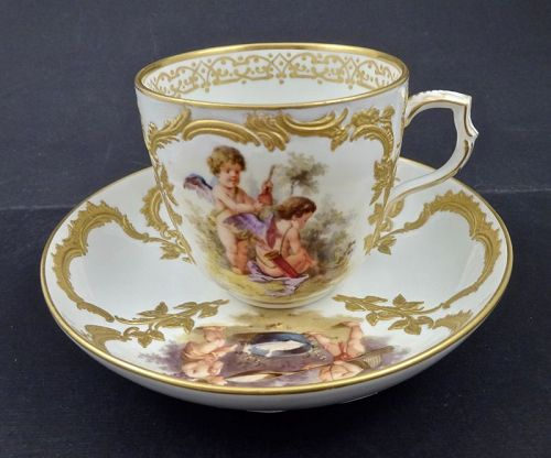 KPM Berlin Tea Cup & Saucer, Cherubs