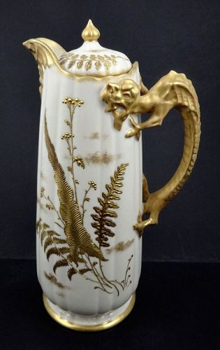 G984 Antique Willets Belleek Chocolate Pot, Dragon Handle