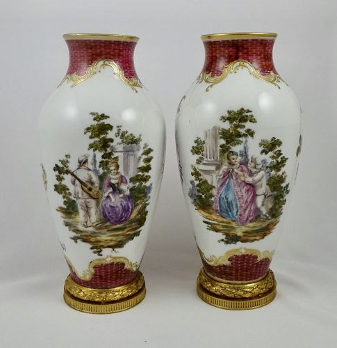 Pair Paris Porcelain Vases,
