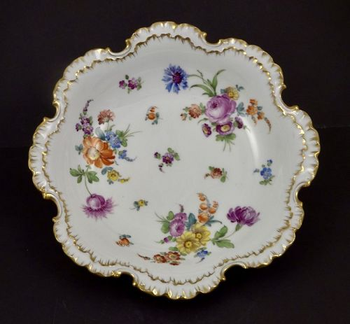 Antique Klemm Dresden Bowl, Scalloped, Floral