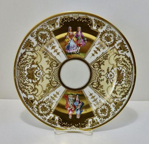 Antique Kestner Dresden Charger, Plate, Gilded