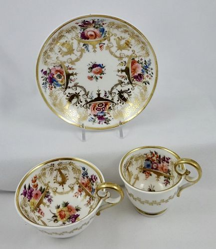 Antique Nantgarw Tea & Coffee Cups with Saucer