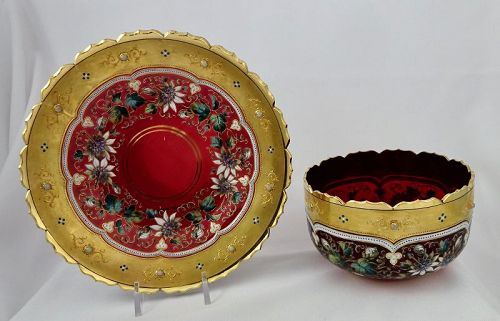 Antique Moser Glass Bowl & Under Plate, Ruby