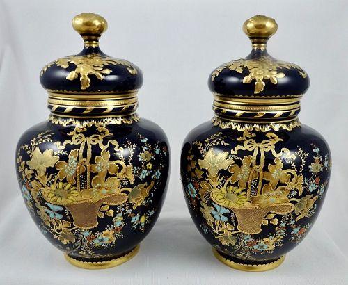 Antique Pair Crown Derby Enameled Vases with Lids