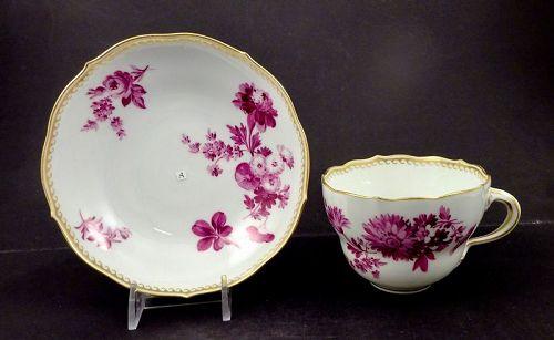 Vintage  Meissen Tea Cup & Saucer, Puce Florals & Gold, A or B