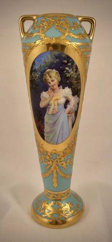 Antique Klemm Dresden Portrait Vase