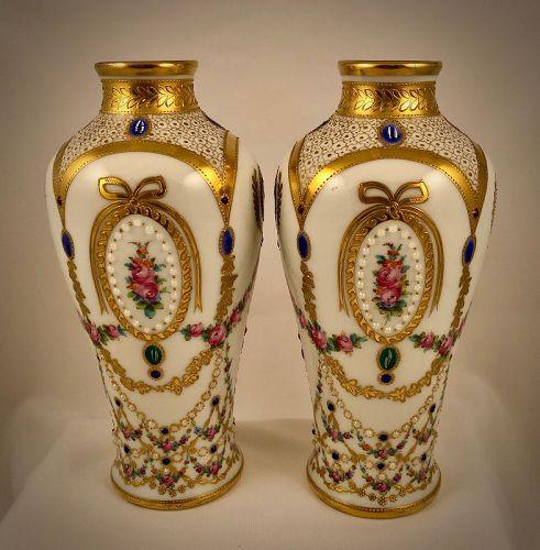 Antique Pair of Austrian Vases, Jeweled