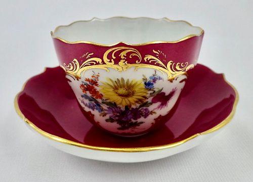 Antique Meissen Demitasse Cup & Saucer, Rose Color