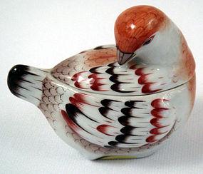 Unique Vintage Herend Bird Box