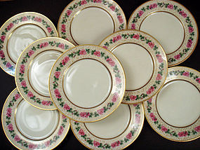 11 Black Knight Dinner Plates with Roses
