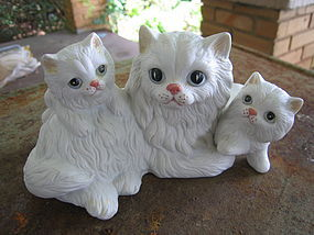 White Persian Cat Family Figurine