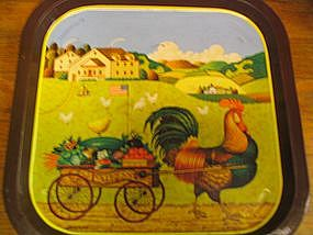 Tin Rooster Tray