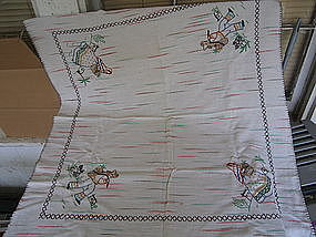 Vintage Embroidered Mexico Tablecloth