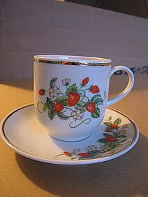 Avon Strawberry  Cup and Saucer