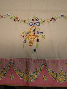 Old Embroidered Pillow Slip