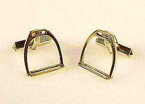 Vintage German 14K Yellow Gold Horse Stirrup Cufflinks