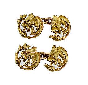 French Art Nouveau 18K Gold Griffin Cufflinks