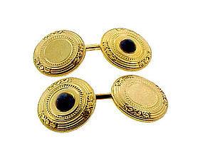 Victorian 14K Gold Sapphire Bippart Griscomb Cufflinks